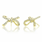 Vanity's CZ Bow Earrings- Gold