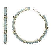 Velvet's Mint Green Stone Fashion Hoop Earrings