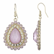 Venetia's Gold Tone Pear Drop Earrings - Fuchsia Pink
