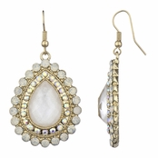 Venetia's Gold Tone Pear Drop Earrings - White
