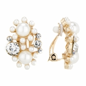 Verta's Gold and Simulated Pearl Cluster Clip On Earrings