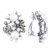 Verta's Silver and Faux Pearl Cluster Clip On Earrings