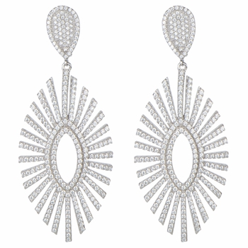 Victoria's Fancy CZ Silver Drop Earrings