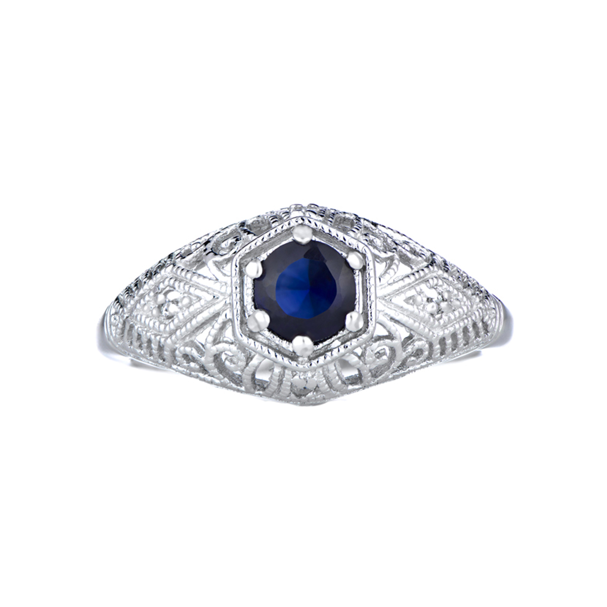 vintage style wedding ring blue cz - Vintage Style Wedding Rings