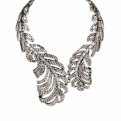 Viola's Silvertone Leaf Fashion Statement Necklace