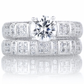 Violeta's Art Deco Style Round Cut CZ Wedding Ring Set