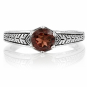 Vivica's Etched Silver Garnet Ring