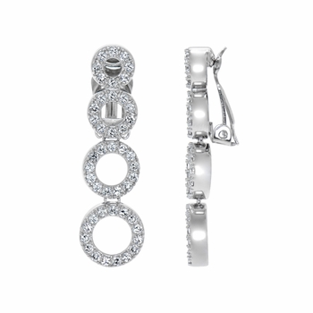 Vivienne's Dangle Circle CZ Clip On Earrings