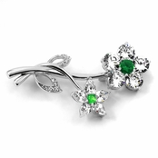 Wedding Jewelry: Roma's CZ Flower Brooch - Emerald