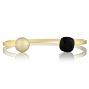 Willa's Matte Gold Stackable Cuff Bracelet with Onyx Swarovski Crystal