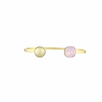 Willa's Stackable Cuff Bracelet with Pink Crystal