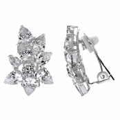 Willow's Pear Cut Cluster CZ Fancy Clip On Earrings