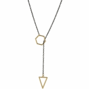 Wilma's Two Tone Lariat Triangle and Hexagon Necklace