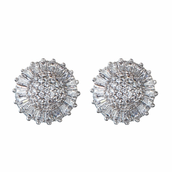Xenia's Fancy Button CZ Earrings