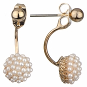 Zabriella's Gold Pearl Cluster Stud Front Back Earrings