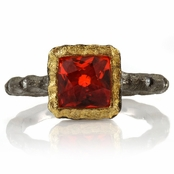 Zada's Rustic Red-Orange CZ Ring