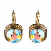 Zalika's Cushion Rhinestone Drop Lever back Earrings