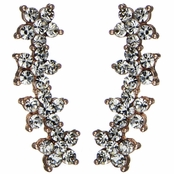Zamara's Rose Gold Rhinestone Flower Earring Cuffs