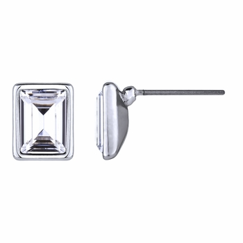 Zelia's Emerald Cut Crystal Stud Earrings