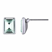 Zelia's Emerald Cut Swarovski Crystal Stud Earrings - Mint Green