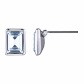 Zelia's Emerald Cut Swarovski Crystal Stud Earrings - Aqua Blue