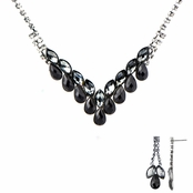Ziba's Fancy Black Fashion Prom Necklace Set