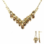 Ziba's Fancy Gold Fashion Prom Necklace Set