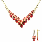 Ziba's Fancy Red CZ Fashion Prom Necklace Set