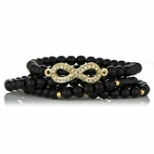 Zibby's Infinity Charm Stretch Bracelet Set - Black
