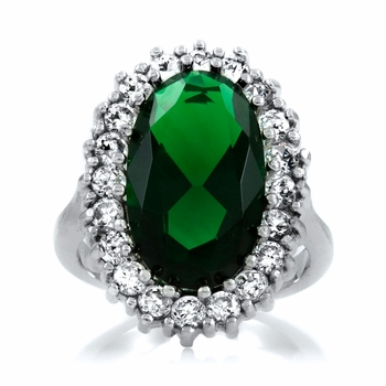 Zinnia's Simulated Emerald Cocktail Ring