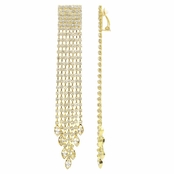 Zoe's Goldtone Dangle Rhinestone Clip On Fancy Fringe Earrings