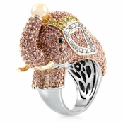 Zoelle's Silvertone  Pink Elephant Cocktail Ring