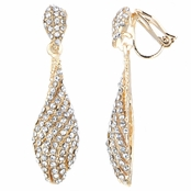 Zoey's Fancy Goldtone Rhinestone Dangle Clip On Earrings