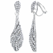 Zoey's Fancy Silver Tone Rhinestone Dangle Clip On Earrings