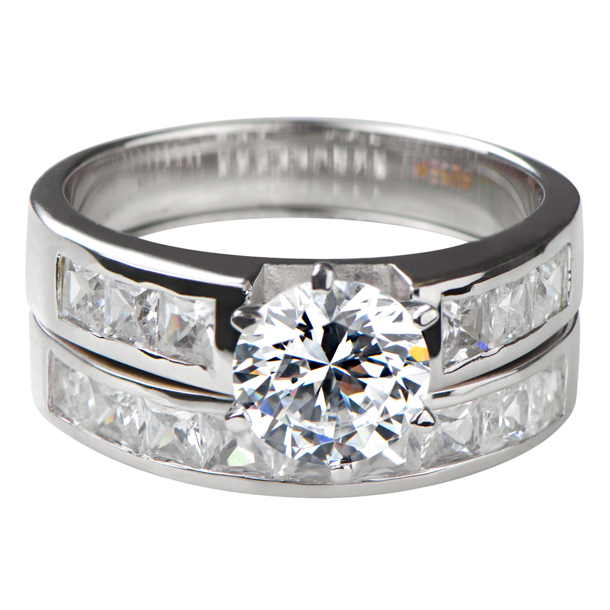 zora 39 s round cut cz wedding ring set