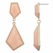 Zula's Geometric Gold Drop Earrings - Peach