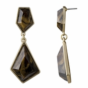 Zula's Geometric Gold Drop Earrings - Smokey Bronze