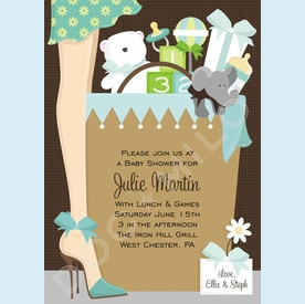 Baby Shower Bag in Blue Invitation - click to enlarge
