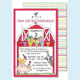 Barnyard Birthday Large Flat Invitation - click to enlarge