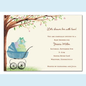 Beautiful Bassinet Boy Invitation - click to enlarge