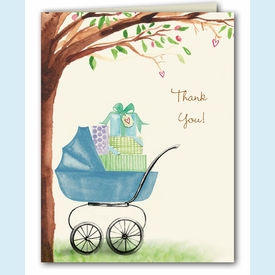 Beautiful Bassinet Boy Thank You Notes - click to enlarge