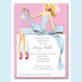 Beautiful Bride with Bow Invitation (Blonde) - click to enlarge