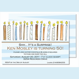 Birthday Candles for Him Large Flat Invitation - click to enlarge