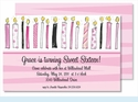 Birthday Candles Sweet 16 Large Flat Invitation