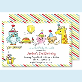 Birthday Party Animals Large Flat Invitation - click to enlarge