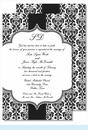 Black Botanical Ribbon Pattern Large Flat Invitation