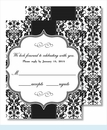 Black Botanical Ribbon Pattern Small Flat Cards