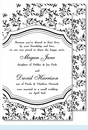 Black Sweet Pea Large Flat Invitation