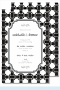 Black/White Basket Weave Large Flat Invitation