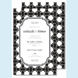 Black/White Basket Weave Large Flat Invitation - click to enlarge